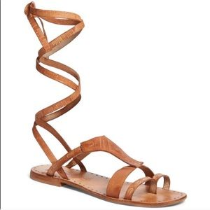 FREE PEOPLE Lace Up Sandals Tan Boho 37